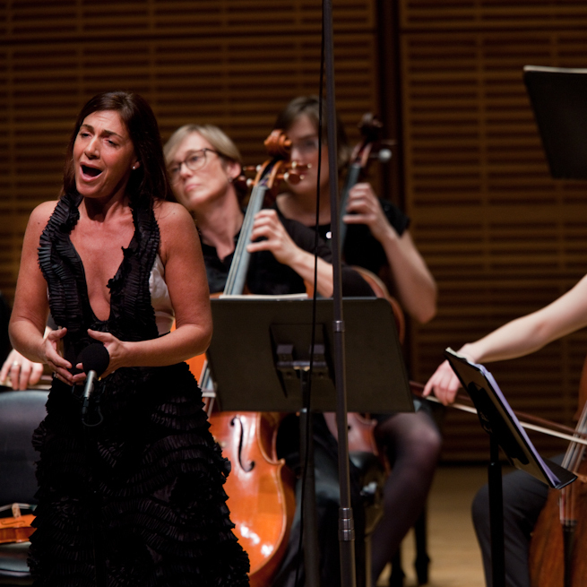Soprano Veronica Cangemi with members of the Emsemble Matheus at their Zankel Hall performance on March 6, 2013.