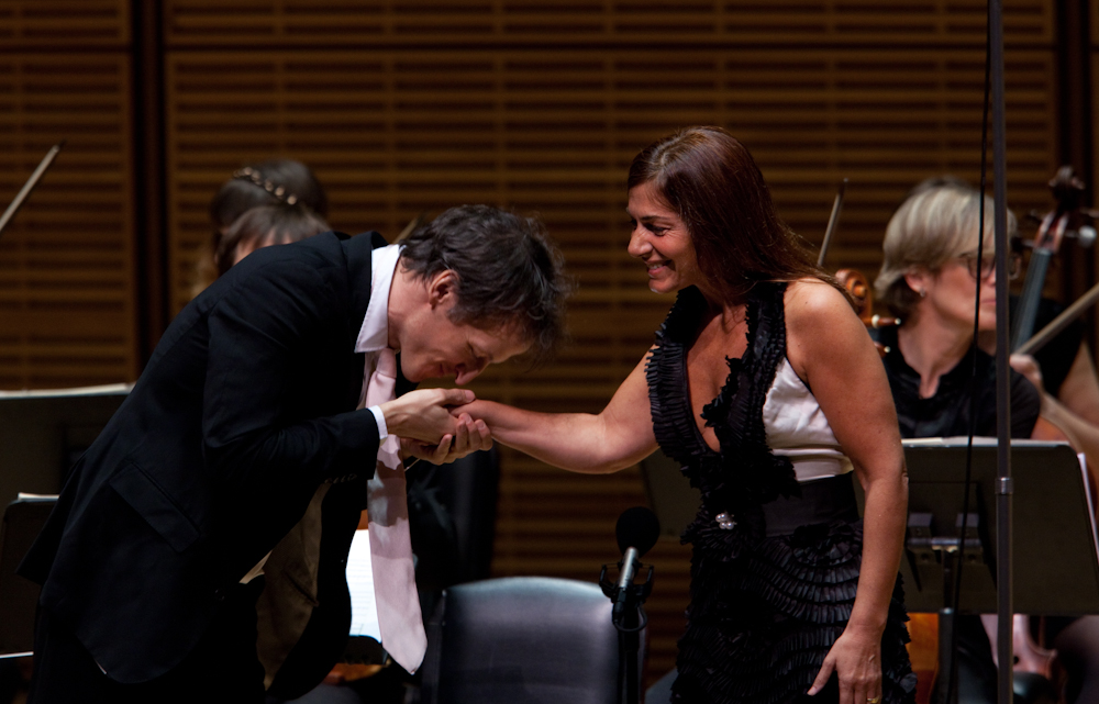 The charming Spinosi, who alternated between French and broken English in speaking to the audience from the stage, here thanks Cangemi after one of her solo turns.