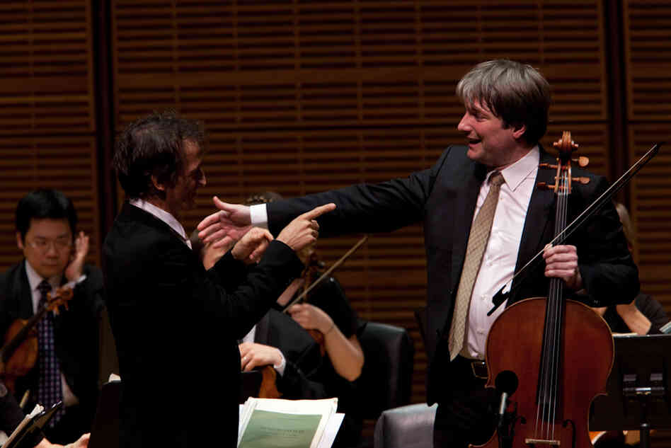 The group's founder, Jean-Christophe Spinosi, congratulates cellist Jerome Pernoo on his performance of music by the now little-heard composer Nicola Antonio Porpora: his unusual Cello Concerto in G Major.
