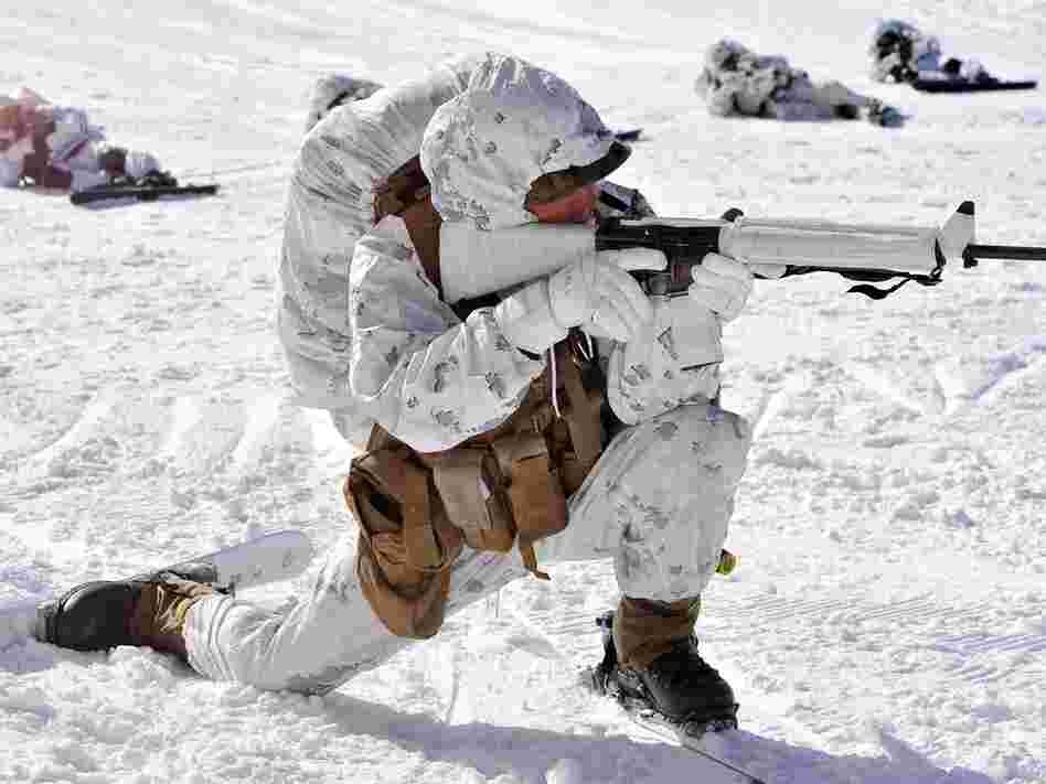 A U.S. Marine takes part in a winter drill in South Korea last month.