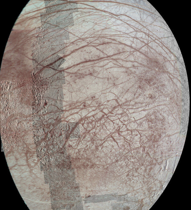 The mosaic was constructed from individual images obtained by the Solid State Imaging (SSI) system on NASA's Galileo spacecraft during six flybys of Europa between 1996 and 1999.