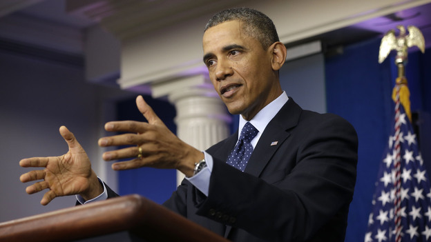 President Obama speaks to reporters in the White House briefing room on Friday following a meeting with congressional leaders. (AP)