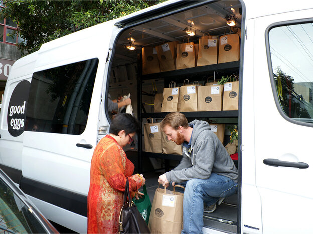 Employees of Good Eggs deliver produce, meat and other local foods from producers in the Bay Area of California.