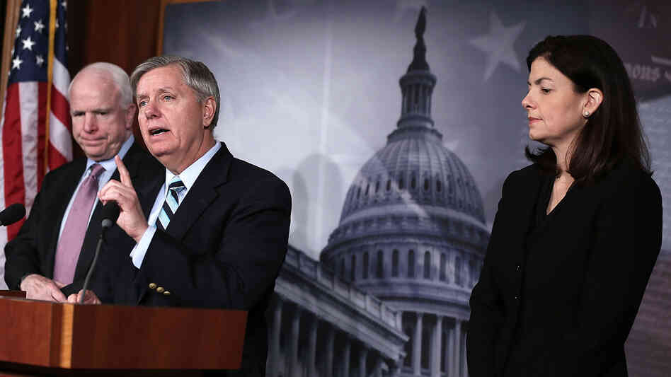 Republican Sens. John McCain of Arizona, Lindsey Graham of South Carolina and Kelly Ayotte of New Hampshire at the Capitol last month. The senators are among a group invited to dine Wednesday with President Obama.