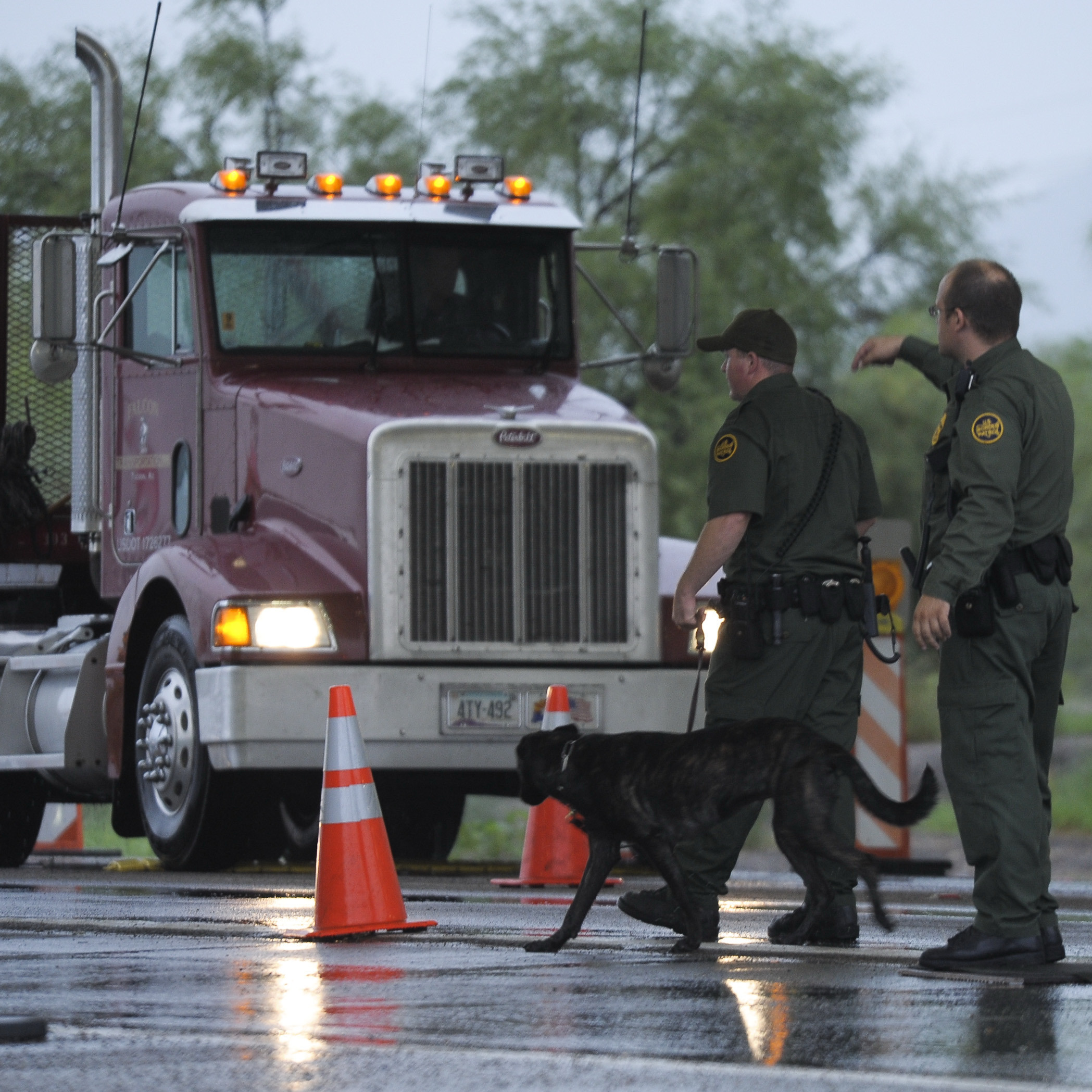 Border security agents stop a truck at a checkpoint on the way to Nogales, Ariz. More winter produce enters the U.S. at the border crossing than at any other point of entry in the country.