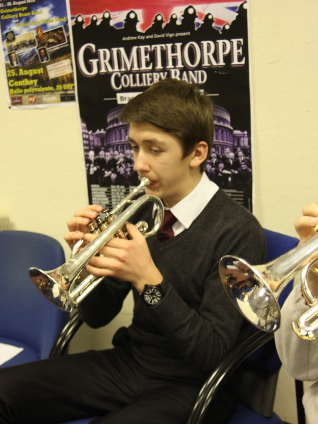 Cornetist Adam Rosbottom rehearses with the Grimethorpe Colliery Band in January. The band was founded in South Yorkshire, England, in 1917.