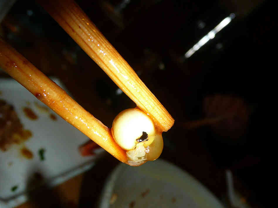 Fish eyeball served at the Sushi Taro restaurant in D.C.