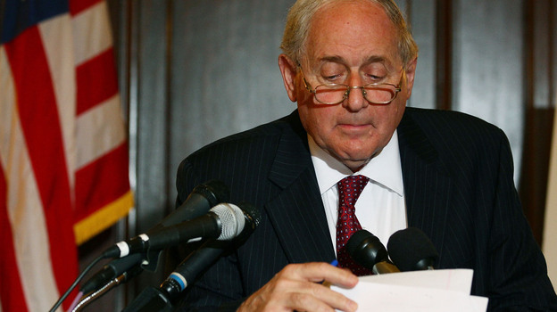 Senate Armed Services Chairman Carl Levin (D-MI), looks at his papers while talking about U.S. companies recieving large tax breaks, during a news conference on Capitol Hill. (Getty Images)