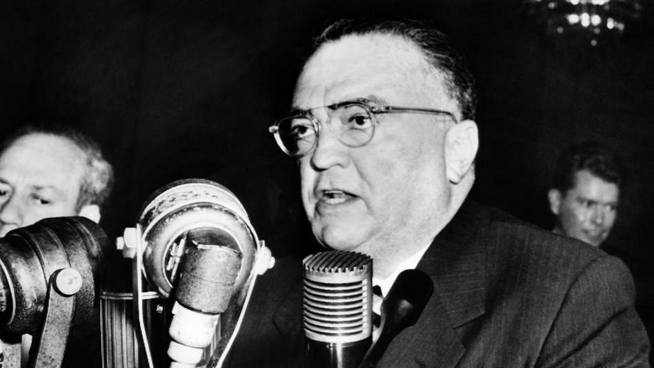 John Edgar Hoover, Director of the Federal Bureau of Investigation gives a speech on November 17, 1953, in Washington. (AFP/Getty Images)