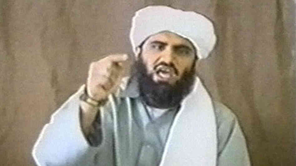 A man identified as Sulaiman Abu Ghaith appears in this still image taken from an undated video address. A son-in-law of Osama bin Laden who served as al Qaeda's spokesman, Abu Gaith was detained in Jordan and sent to the United States.