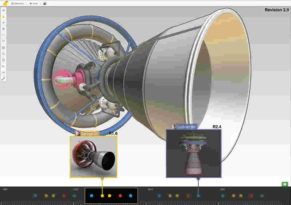 A screenshot shows how a team would track changes to its rocket project on a Sunglass platform.