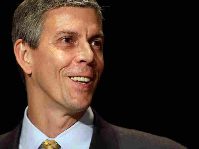U.S. Education Secretary Arne Duncan addresses the opening session of the first federal Bullying Prevention Summit on Aug. 11, 2010, in Washington, D.C.