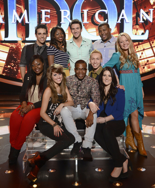 The top 10 contestants on this year's <em>American Idol</em>. Clockwise from top left: Lazaro Arbos, Amber Holcomb, Paul Jolley, Curtis Finch, Jr., Janelle Arthur, Kree Harrison, Devin Velez, Burnell Taylor, Angie Miller and Candice Glover.