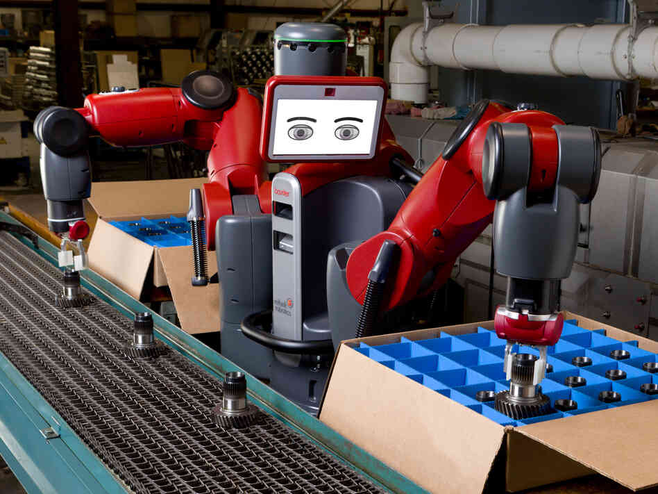 "Baxter is billed by its makers as a ""collaborative manufacturing robot."" It can work alongside humans to do simple, repetitive tasks."