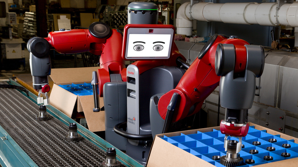 "Baxter is billed by its makers as a ""collaborative manufacturing robot."" It can work alongside humans to do simple, repetitive tasks. (Courtesy of Rethink Robotics)"