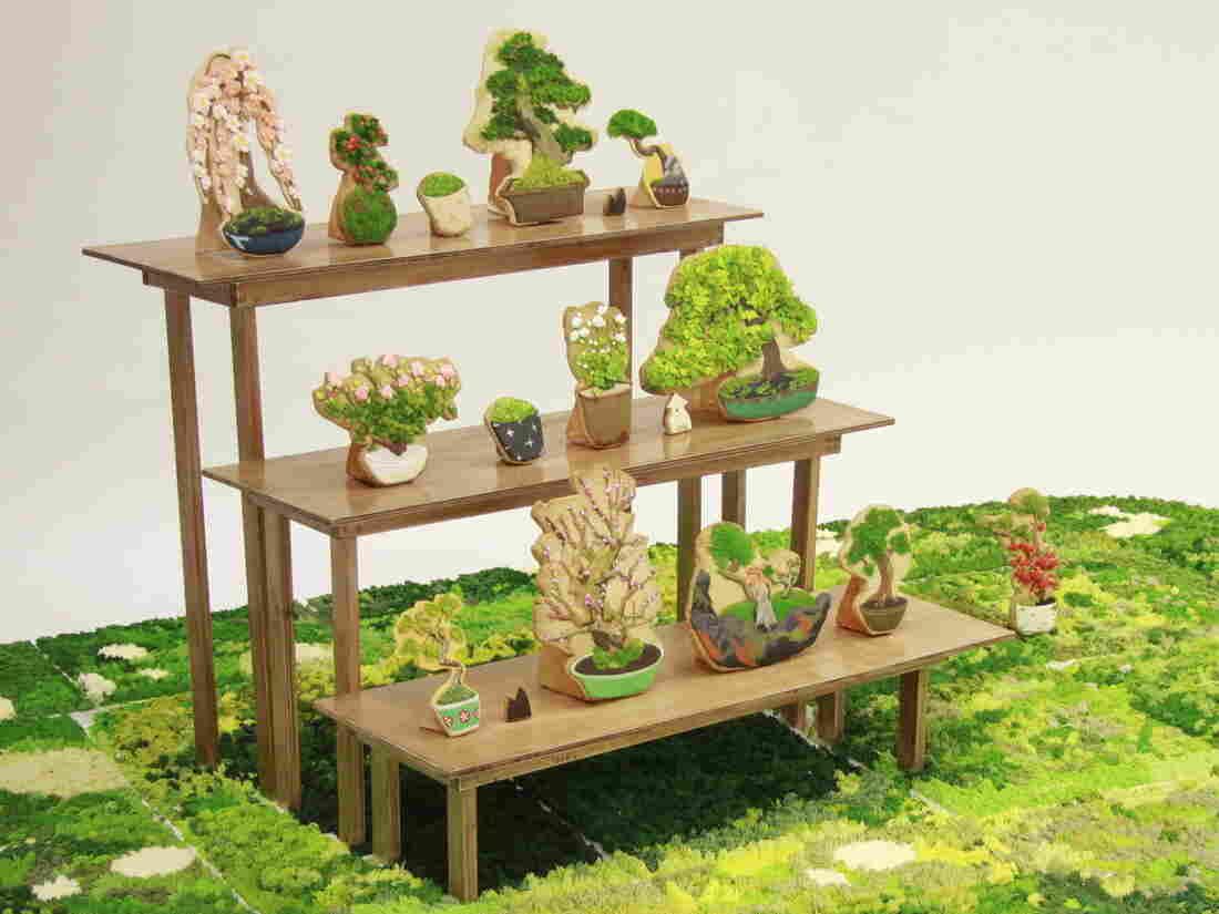 An assortment of Risa Hirai's bonsai cookie art