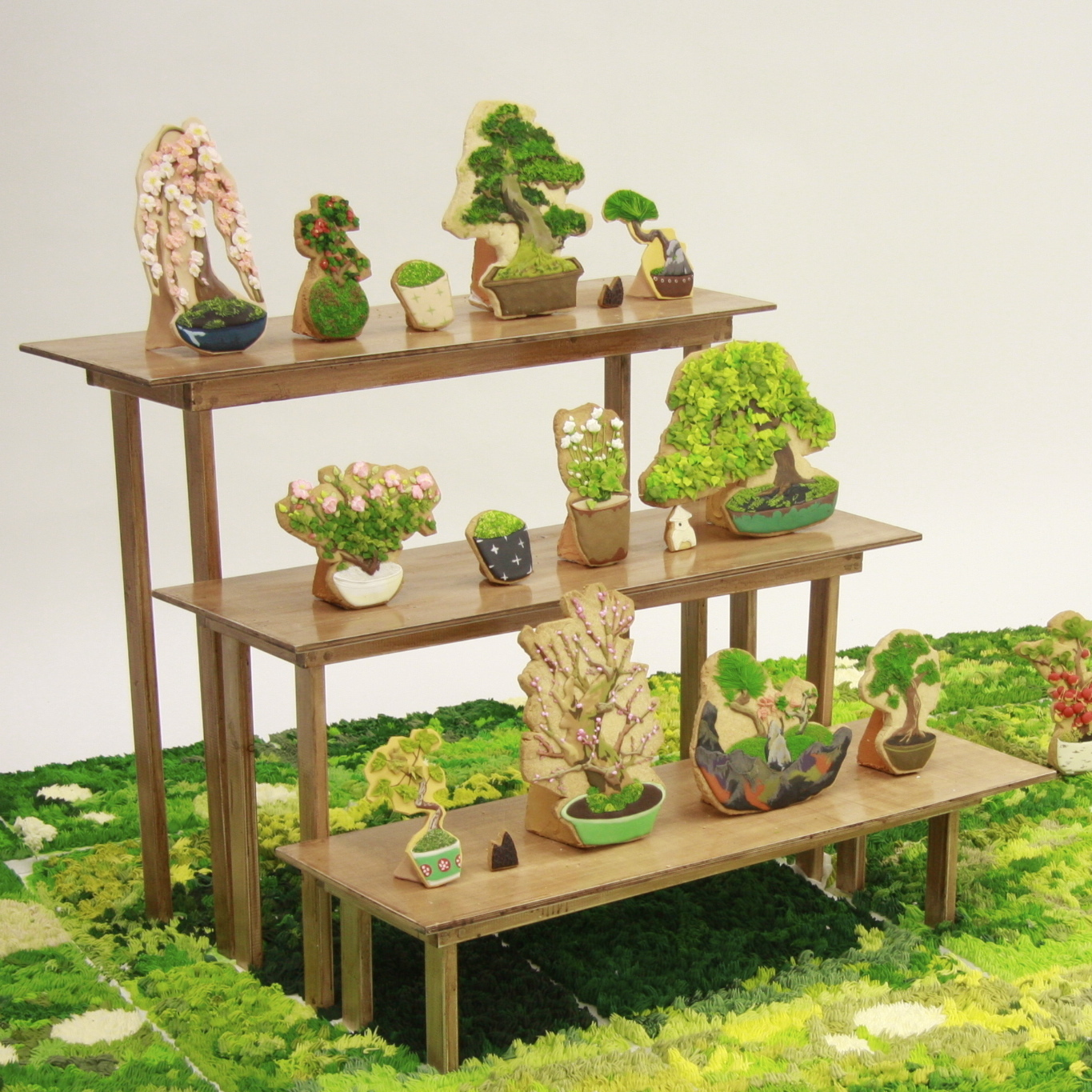 An assortment of Risa Hirai's bonsai cookie art