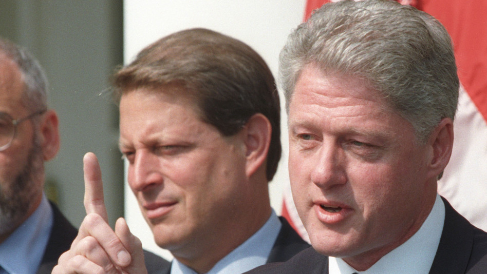 Former President Bill Clinton (and then-Vice President Al Gore) in 1996, the year Clinton signed the Defense of Marriage Act. (Reuters /Landov)