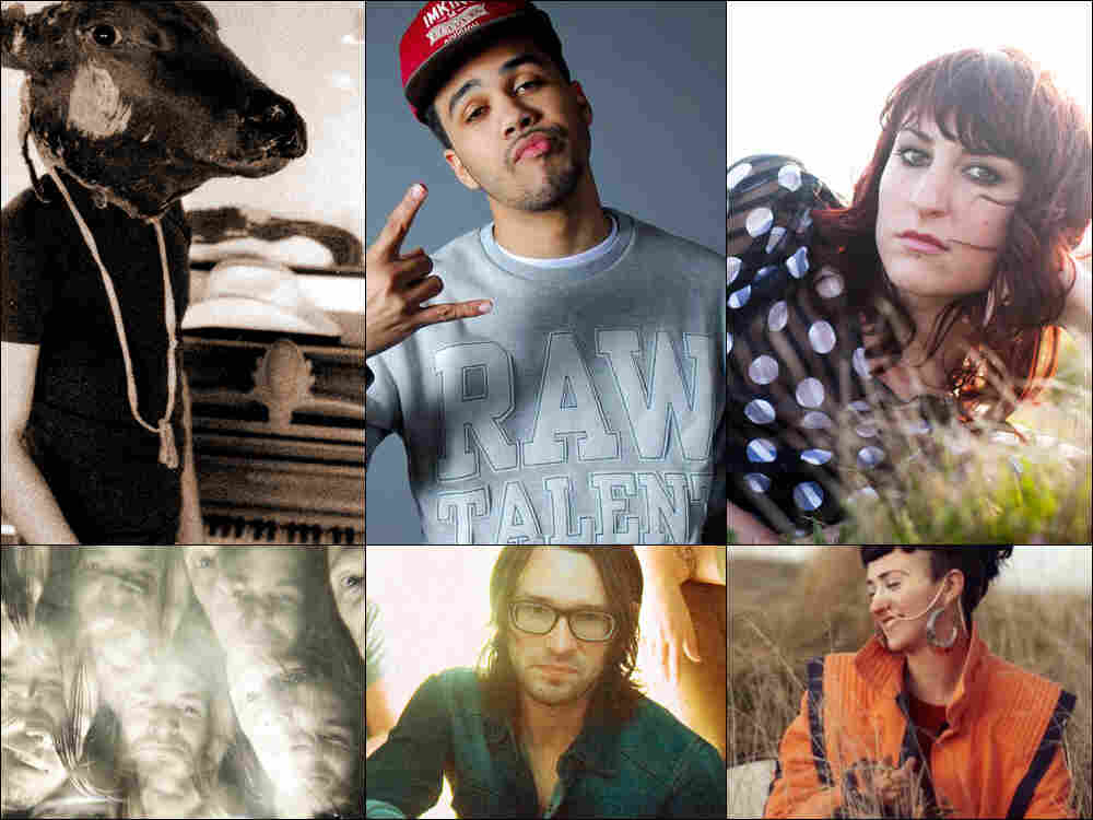 Clockwise from upper left: Shakey Graves, Skewby, Hannah Georgas, Hiatus Kaiyote, Air Review, K-X-P