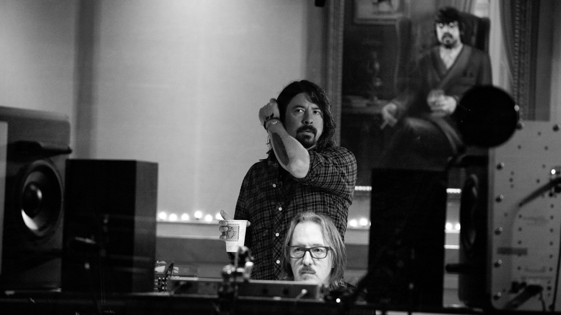 Dave Grohl reunited with his old friend Butch Vig (at console), the producer of Nirvana's Nevermind, for the making of Sound City: Real to Reel.