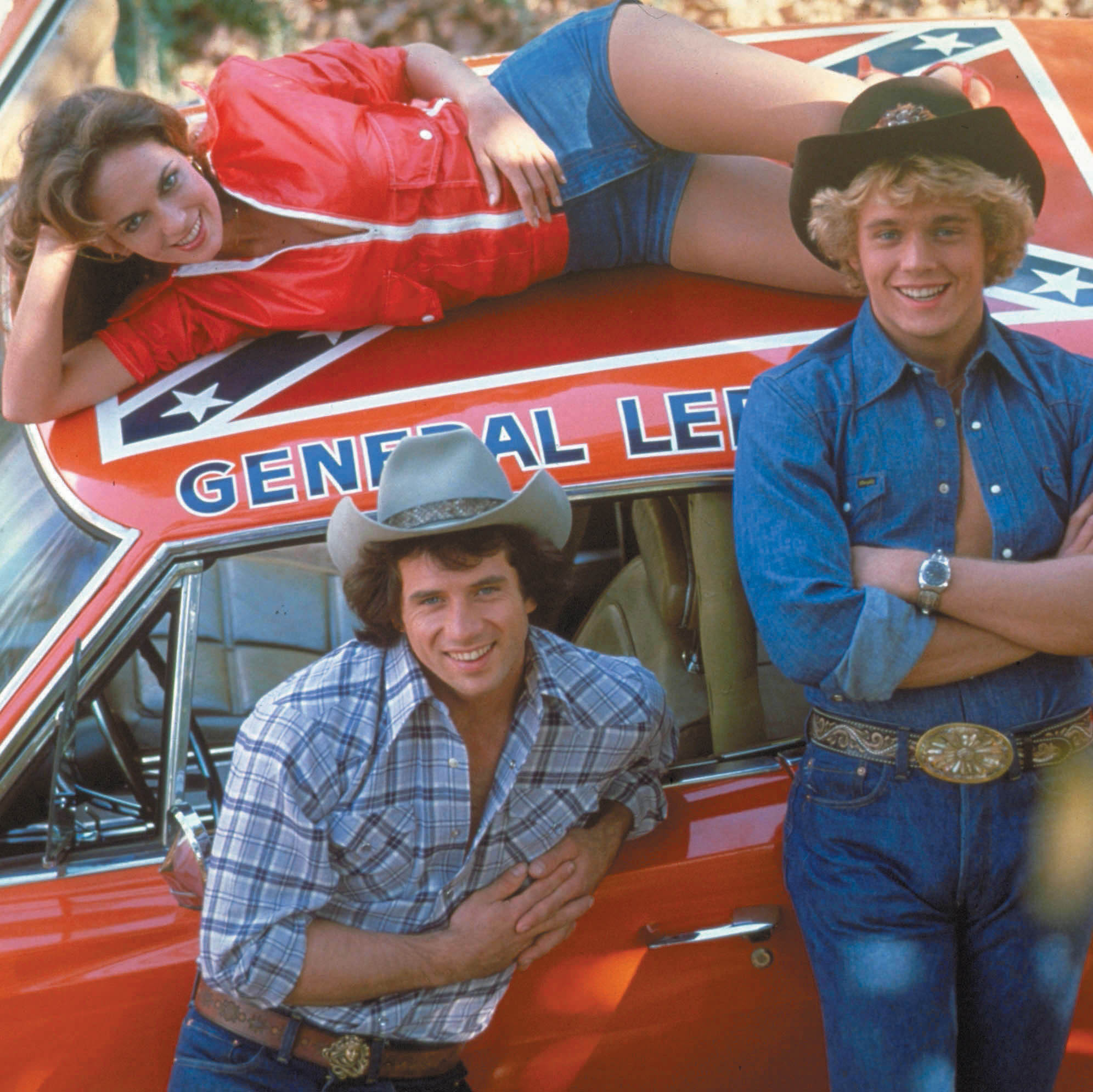 Tom Wopat (left), John Schneider and Catherine Bach played Luke, Bo and Daisy Duke -- rowdy country cousins in a Georgia town -- in the '80s TV series The Dukes of Hazzard.