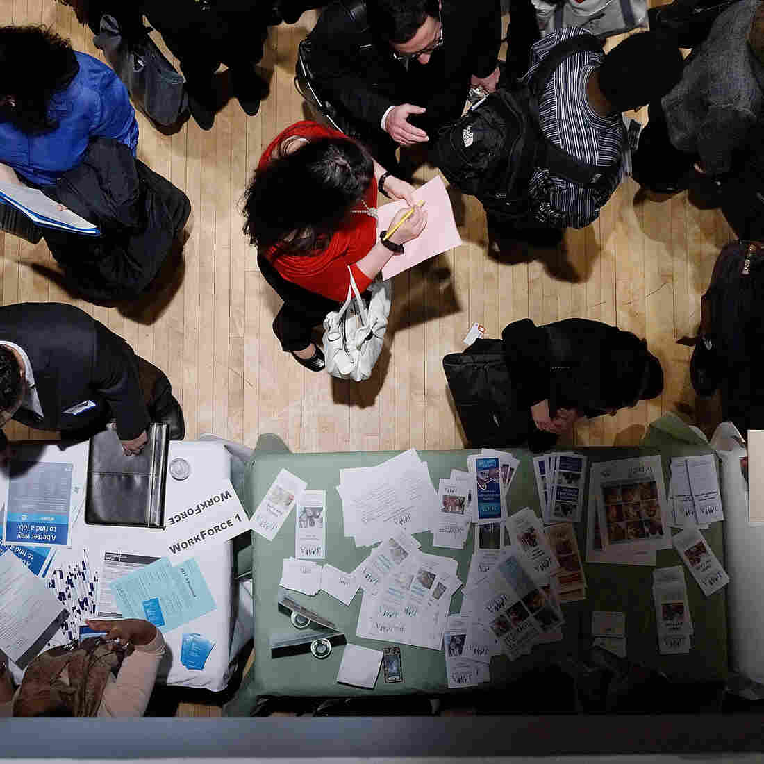 The scene at a job fair in Manhattan earlier this month.