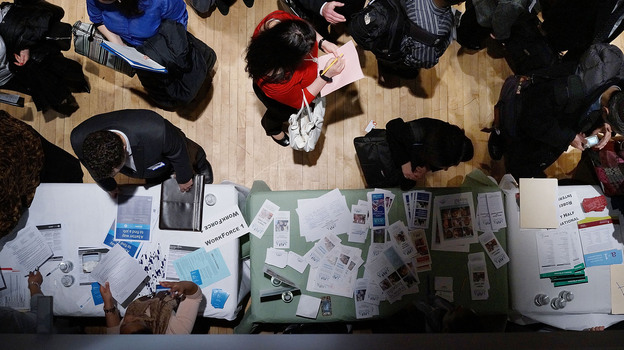 The scene at a job fair in Manhattan earlier this month. (Getty Images)