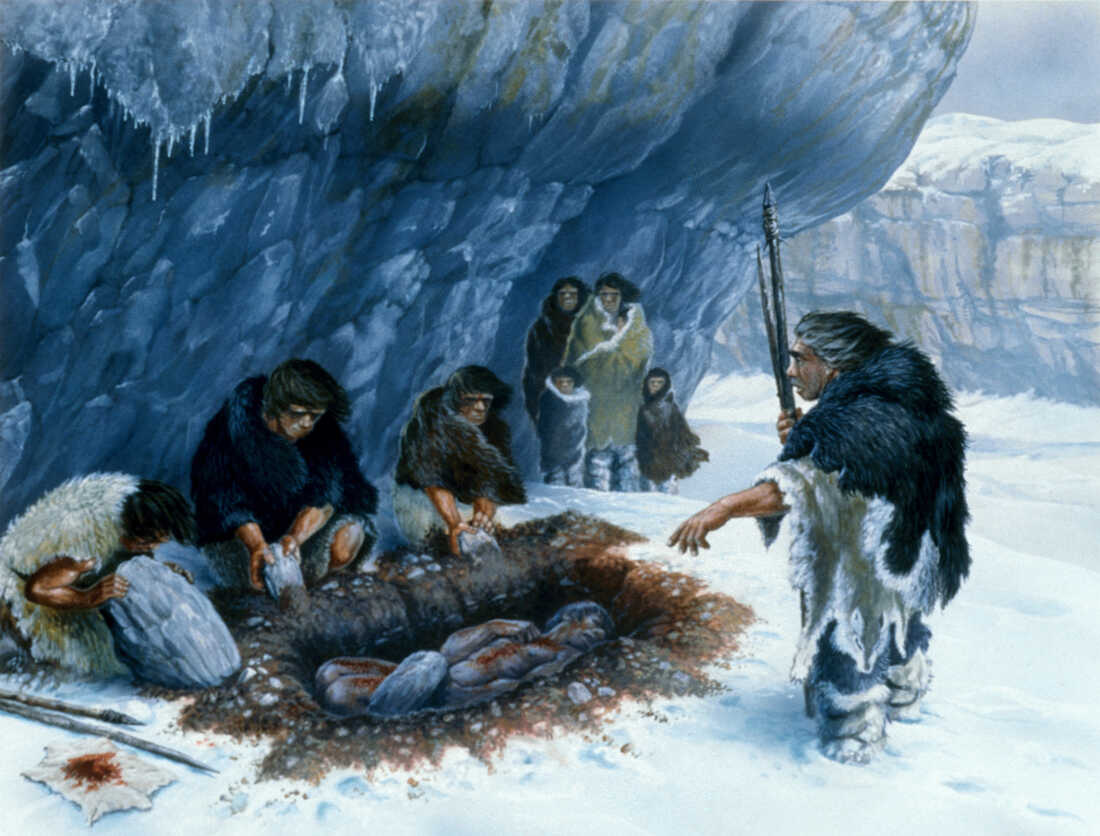 Neanderthal burial illustration