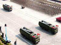 A North Korean missile unit takes part in a 2007 military parade.