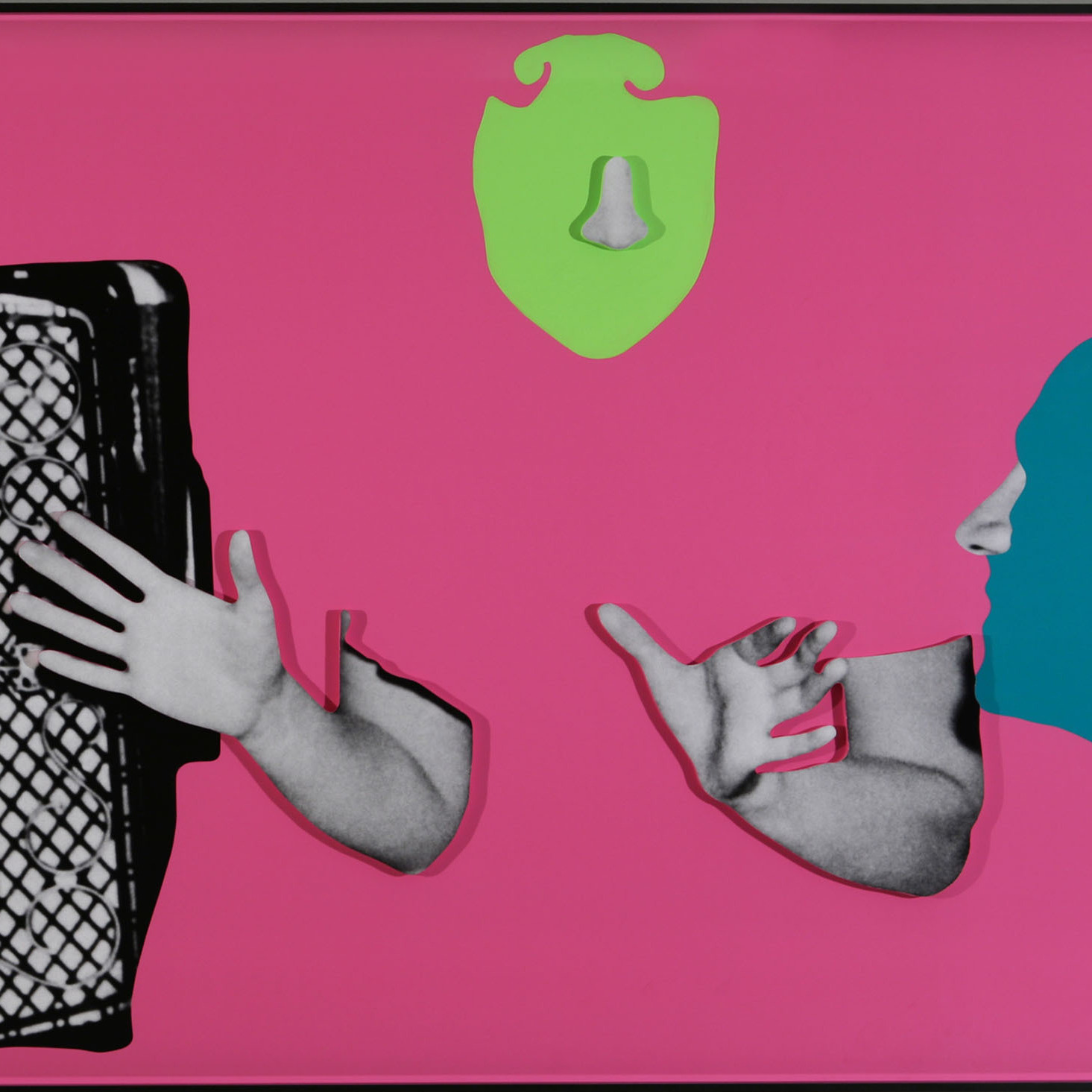 permission pending. Noses & Ears, Etc. (Part Two): Two (Bluegreen) Faces With Noses And Ears, One (Yellowgreen) Face With Nose And Three Hands And Accordion, 2006