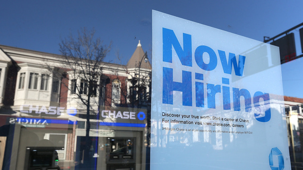 """Hoping to see more of these: A """"now hiring"""" sign in the window of a bank in San Rafael, Calif., in January. (Getty Images)"""