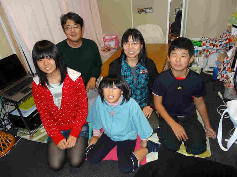 The Togawa family in their temporary home near Kawamata, Japan. From left: Rina, Kenichi, Kae, Yuka and Shoichiro.