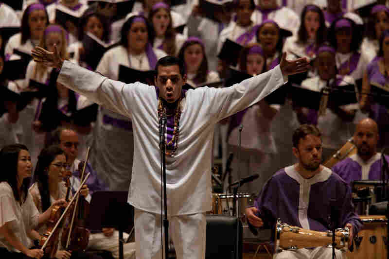 With his St. Mark Passion, composer Osvaldo Golijov turns the traditional Passion (like those of J.S. Bach) on its head and gives it a spin or two. Here, Javier Silva performs in front of the Forest Hills High School Concert Choir, the Frank Sinatra School of the Arts Concert Choir and Songs of Solomon at Carnegie Hall.