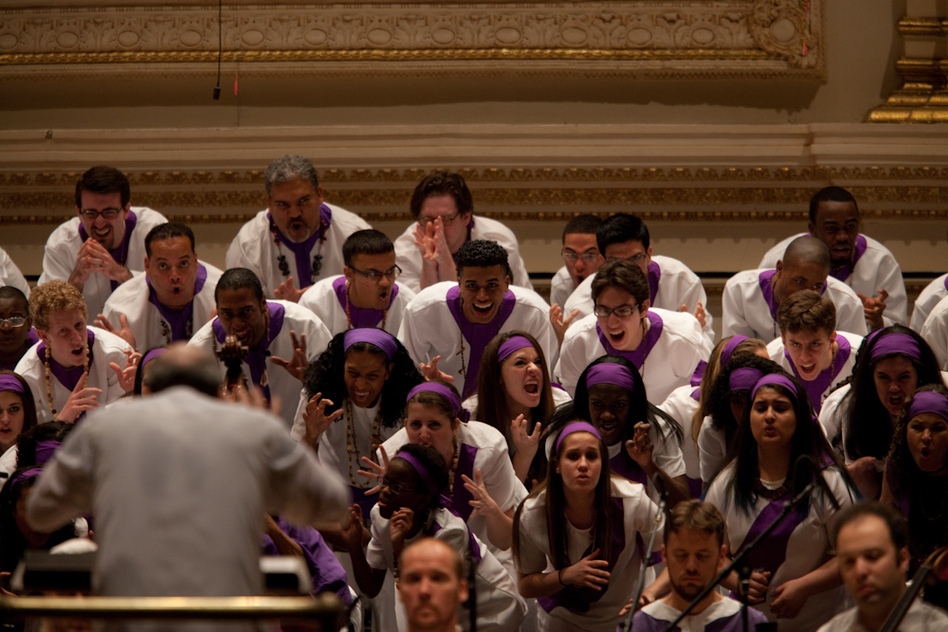 More than 100 choristers from area high schools and the Songs of Solomon choir sang in the Passion, here representing the angry crowd at Jesus' crucifixion. (For NPR)