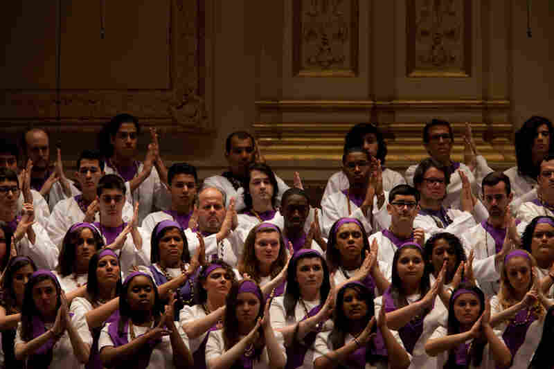 Members of the Forest Hills High School Concert Choir,the Frank Sinatra School of the Arts Concert Choir and Songs of Solomon singing in Golijov's St. Mark Passion.
