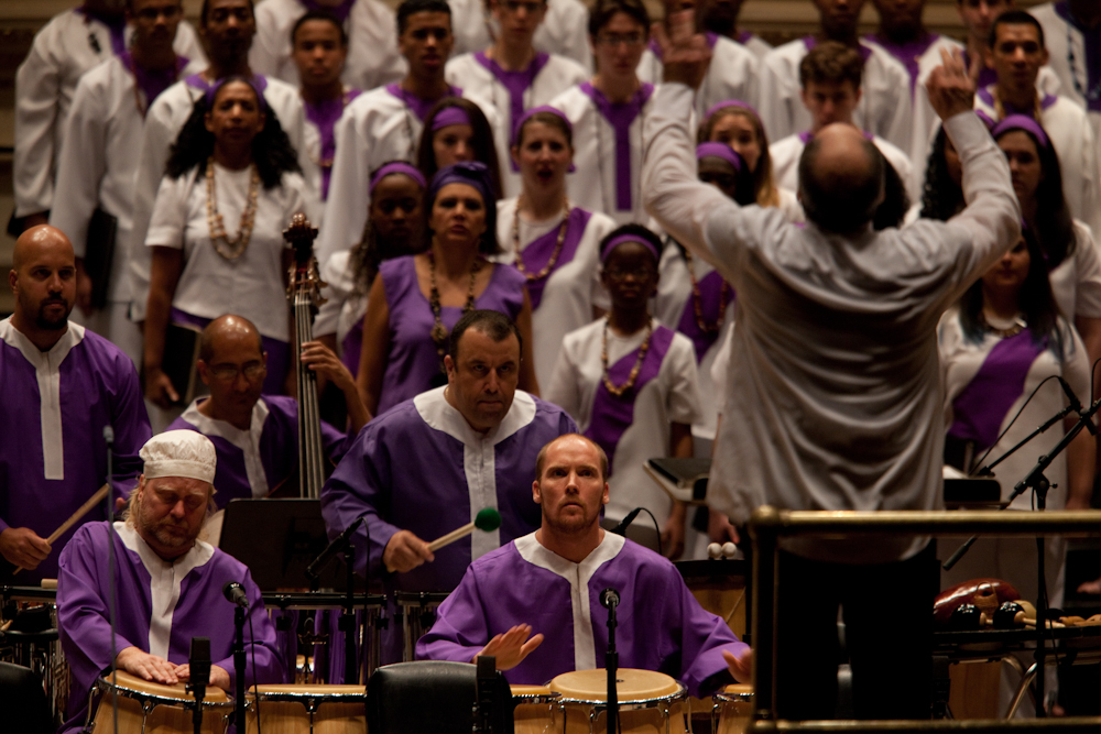 Golijov's Passion calls for sacred Cuban bata drums, plus congas and a battery of Brazilian drums.