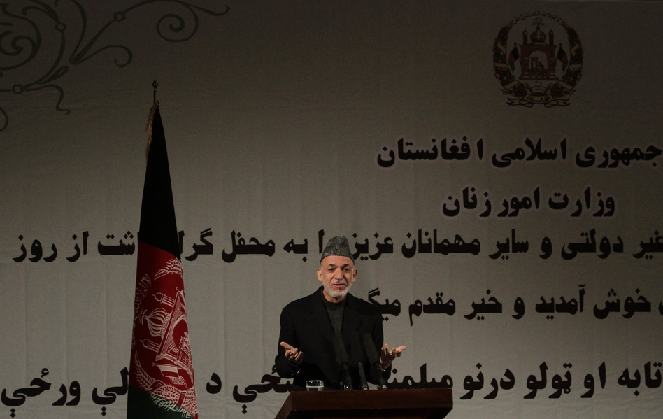 Afghan President Hamid Karzai said in a nationally televised speech on Sunday that the U.S. and the Taliban are holding talks. (Ahmad Jamshid/AP)