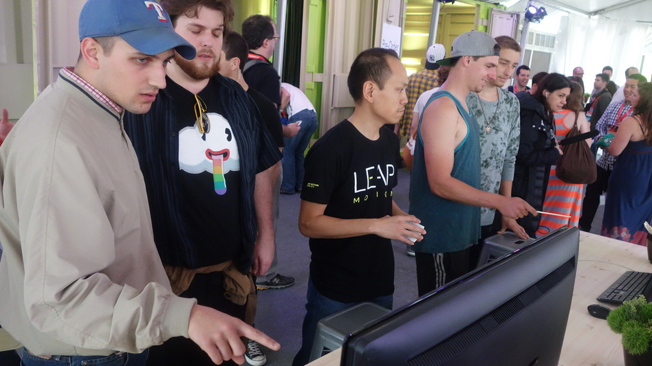 Festival attendees experiment with Leap Motion technology.