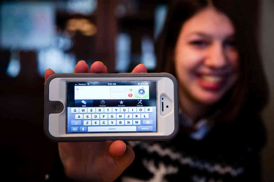 Samantha uses a text-to-speech iPhone app to help her communicate. Here she shows the app interface.