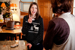 Samantha speaks with her mom, Ruane, about going to the movies with a friend.