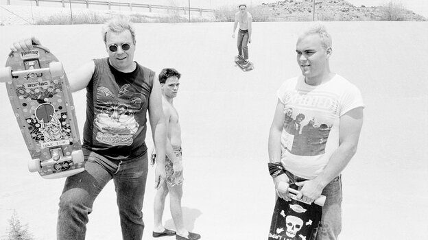"""Big Boys in West Texas on the way to California in 1982. Randy """"Biscuit"""" Turner is at the left, Chris Gates at the right, and Tim Kerr at the back."""