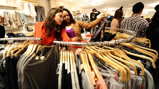 "Prices at stores like Forever 21 are so low, ""it's virtually impossible to walk out empty-handed,"" says Elizabeth Cline, who writes about fast fashion. (Getty Images)"