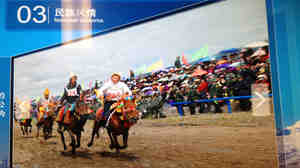 "A close look at a photo of the Nagqu horse festival in northern Tibet at the National Museum of China in Beijing reveals a gaggle of surprising ""spectators"" at the traditional Tibetan event: Chinese paramilitary police (see enlargement)."