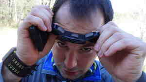 "Noah Zandan shows off his Zeo sleep-tracking headband. His other self-tracking devices are on his wrists. Noah and his father, Peter, are both part of the growing ""Quantified Self"" movement."