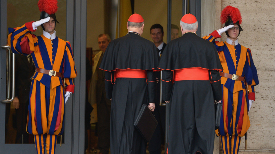 Cardinals gathered in Vatican City on Monday, a day before the papal selection process known as the conclave begins. (Getty Images)