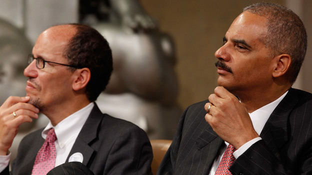 Attorney General Eric Holder (R) and Assistant Attorney General for the Civil Rights Division Thomas Perez in 2010 in Washington, D.C. (Getty Images)