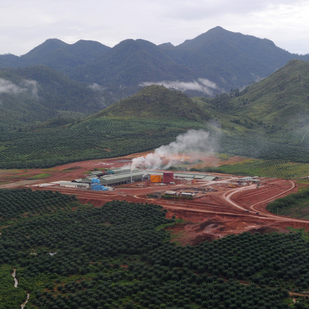 This palm oil mill uses energy produced by palm oil waste. It sits in one of the concession areas run by palm oil giant PT SMART (Sinar Mas Agro Resources and Technology) in Indonesia's West Kalimantan province, on the island of Borneo.