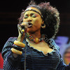 Malian singing legend Oumou Sangare performing in Essaouira, Morocco in June 2012.