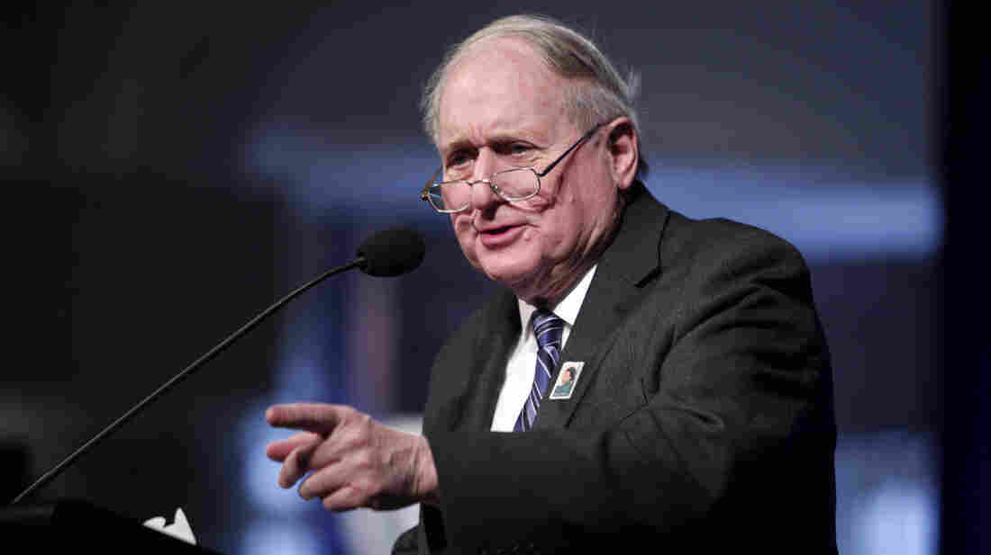 Michigan Sen. Carl Levin speaks in Dearborn on Feb. 4.