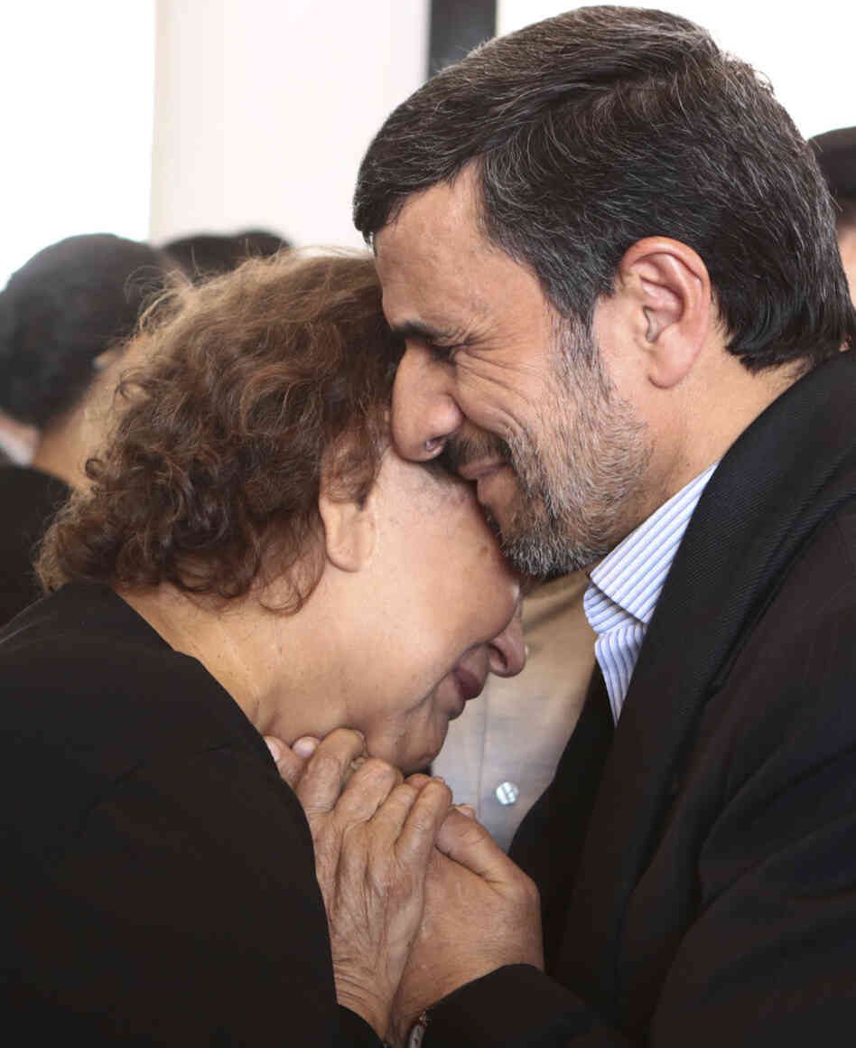 Iran's President Mahmoud Ahmadinejad offered his condolences to Elena Frias, mother of